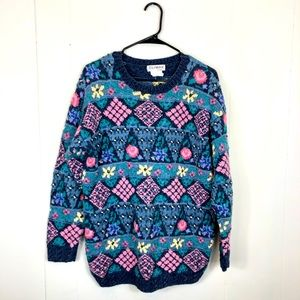 Vintage 80's Floral Grandpa Embroidered Sweater